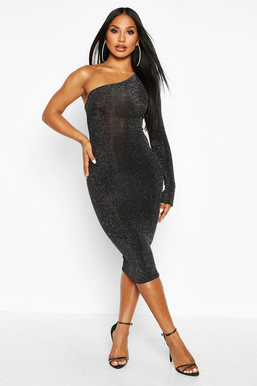 DRESSES One Shoulder Glitter Midi Dress