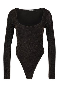 Gold Glitter Square Neck Long Sleeve Bodysuit