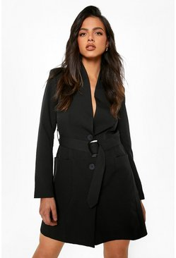 Belted Pocket Detail Blazer Dress, Black nero