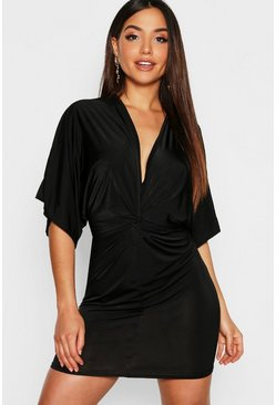 Black Disco Slinky Twist Front Mini Dress