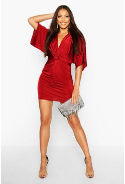 Wine red Disco Slinky Twist Front Mini Dress