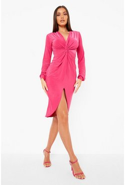 Hot pink pink Disco Slinky Twist Front Wrap Dress