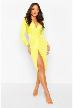 Lime green Disco Slinky Twist Front Wrap Dress