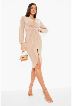 Stone beige Disco Slinky Twist Front Wrap Dress