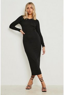 Black Jumbo Rib Notch Neck Midaxi Dress