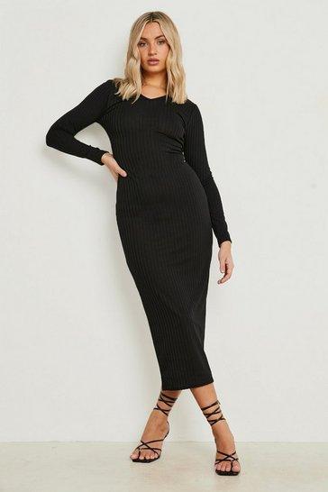 Black Jumbo Rib Notch Neck Midaxi Dress