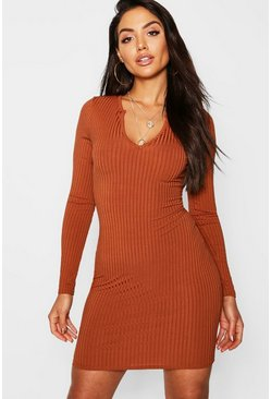 Caramel beige Jumbo Rib Notch Neck Long Sleeve Mini Dress