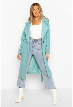 Teal green Belted Trench