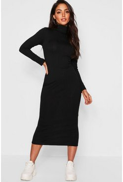 Black Jumbo Rib Roll Neck Midi Dress