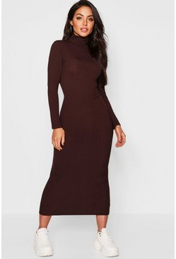 Chocolate brown Jumbo Rib Turtleneck Midi Dress