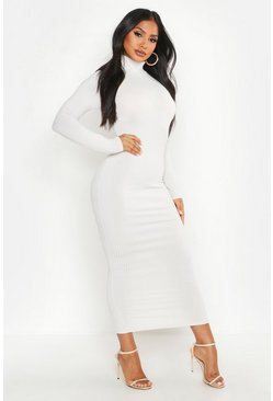 Ecru white Jumbo Rib Roll Neck Midi Dress