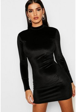 Black Velvet High Neck Bodycon Dress