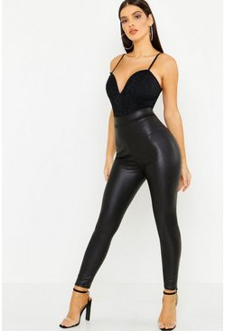 Black Zig Zag Faux Leather Stretch Leggings