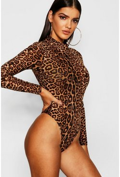Brown Leopard Mesh High Neck Bodysuit