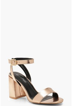 Rose gold metallic Chunky Block 2 Part Heels