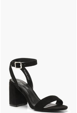 Black Chunky Block 2 Part Heels