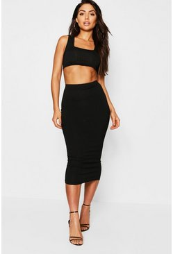 Black Jumbo Rib Square Neck Bralet and Midi Skirt Coord