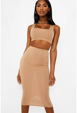 Caramel beige Jumbo Rib Square Neck Bralet and Midi Skirt Coord
