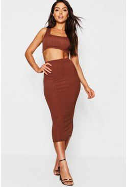 Mocha beige Jumbo Rib Square Neck Bralet&Midi Skirt Two-Piece Set