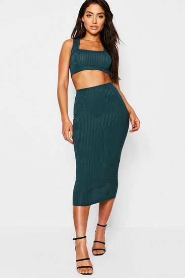 Teal green Jumbo Rib Square Neck Bralet and Midi Skirt Coord
