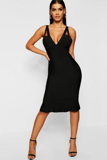 Black Strap Detail Peplum Hem Midi Contouring Bandage Dress