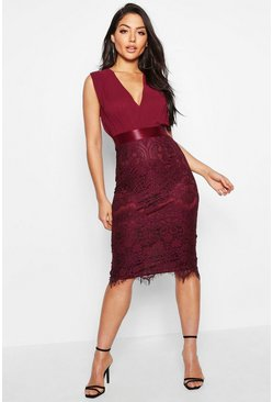 Berry red Chiffon & Lace Midi Dress