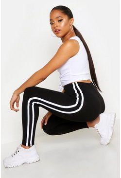 Black Sports Stripe Leggings