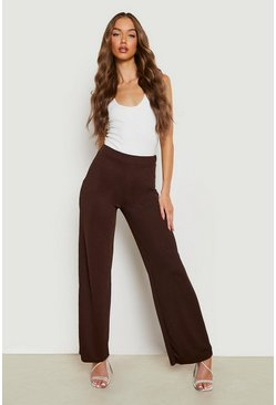 Chocolate brown High Waist Basic Crepe Wide Leg Trousers
