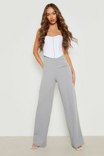 Grey High Waist Basic Crepe Wide Leg Trousers