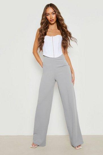Grey High Waist Basic Crepe Wide Leg Trousers