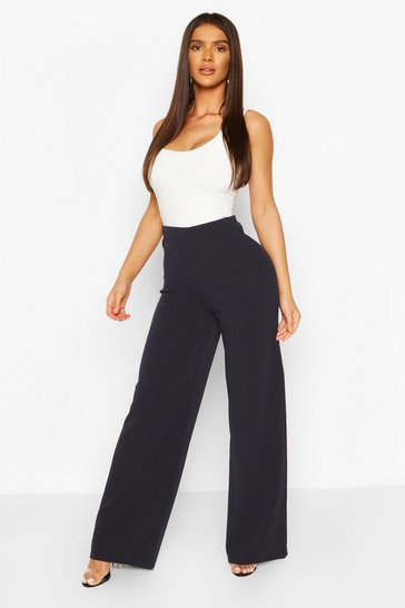 Navy High Waist Basic Crepe Wide Leg Trousers
