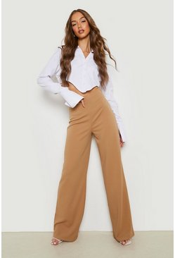 Sand beige High Waist Basic Crepe Wide Leg Pants