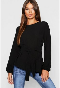 Black Asymmetric Hem Belted Woven Top