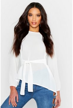 White Asymmetric Hem Belted Woven Top