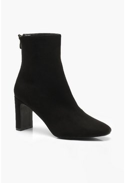 Black Low Heel Ankle Shoe Boots