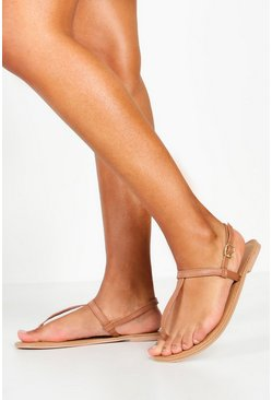 Tan brown Plain Toe Thong Leather Sandals
