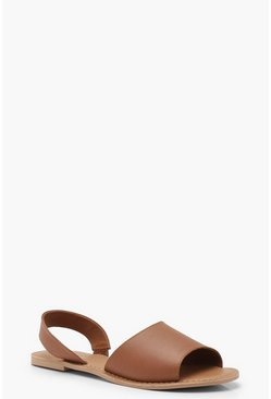 Tan brown 2 Part Peeptoe Leather Sandals