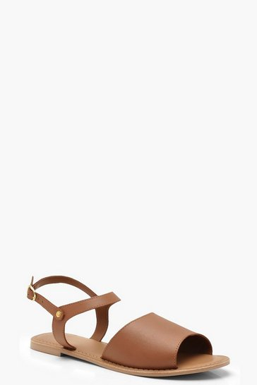 Tan brown Peeptoe Ankle Strap Leather Flat Mule Sandals