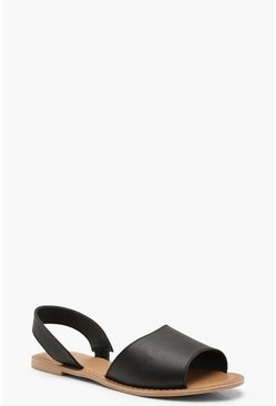 Black Wide Fit 2 Part Peeptoe Leather Sandals