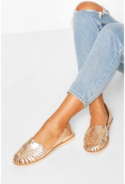 Rose gold metallic Wide Fit Metallic Leather Woven Ballets