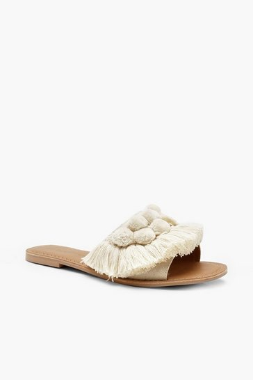 Cream white Pom Pom Frill Leather Sliders