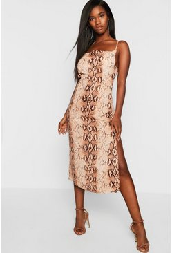 Brown Snake Print Strappy Cowl Front Midi Slip Dress