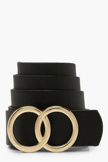 Black Double Ring Detail Boyfriend Belt