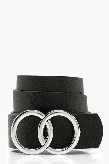 Black Double Buckle Boyfriend Belt