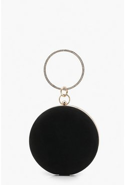 Black Diamante Ring Handle Suedette Box Clutch Bag