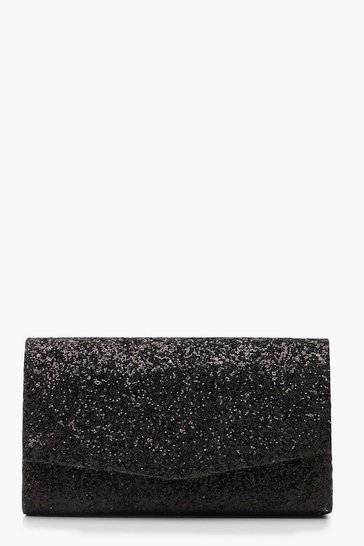 Black Chunky Glitter Structured Clutch Bag
