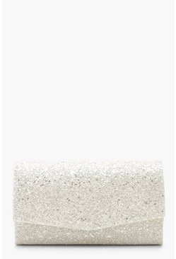 White Chunky Glitter Structured Clutch Bag
