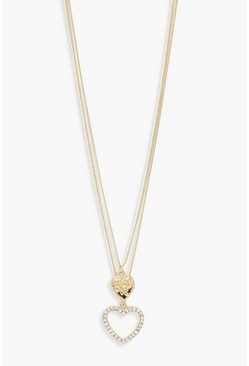 Gold metallic Double Heart Layered Necklace