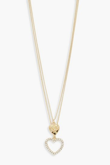 Gold Double Heart Layered Necklace