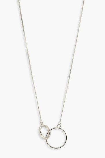 Silver Simple Circle Linked Necklace